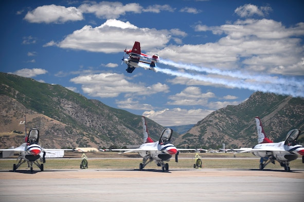 A Yak-110 flown by Jeff Boerboon performs at the Warriors Over the Wasatch Air and Space Show June 24, 2018, at Hill Air Force Base, Utah. The show featured the U.S. Air Force Thunderbirds demonstration squadron, as well as a number of other military and civilian aerial performers and exhibits. (U.S. Air Force photo by Todd Cromar)