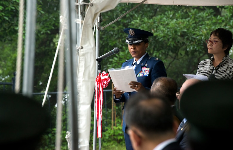 U.S. Air Force Col. Tanya J. Anderson, 374th Mission Support Group commander, speaks during the B-29 Memorial Ceremony