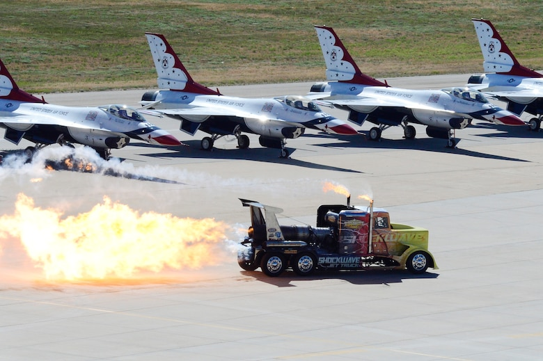 ShockWave, a jet-powered truck, fires up its engine during the Warriors Over the Wasatch Air and Space Show June 23, 2018, at Hill Air Force Base, Utah. The three jet engines attached to the truck come from a U.S. Navy T-2 Buckeye and produce 21,000 pounds of thrust that can propel it to speeds over 350 miles per hour. (U.S. Air Force photo by David Perry)