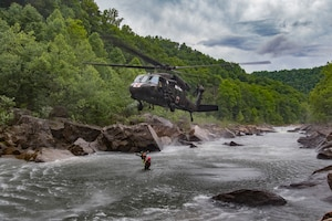 West Virginia National Guard Soldiers with Company C 2/104th General Support Aviation Battalion (Medevac) fly the West Virginia Swift Water Rescue Team as they complete Federal Emergency Management Agency (FEMA) Level 1 training June 11, 2018, at Camp Dawson, W.Va. The WVSWRT was developed after the devastating floods of 2016 that impacted all 55 counties of the state of West Virginia to assist citizens in a time of need.