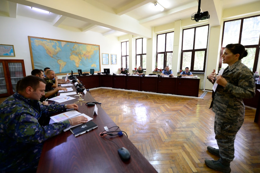 Master Sgt. Zita Walters, Senior Noncommissioned Officer Academy instructor, leads classroom discussion during the first-ever senior NCO mobile education course June 8 to 22, 2018, at Boboc Air Base, in Buzău, Romania. The SNCOA mobile training team partnered with the Inter-European Air Forces Academy to provide a two-week course, condensed from the full five-week course held at Maxwell Air Force Base- Gunter Annex, Alabama. (U.S. Air Force photo by Tech. Sgt. Staci Kasischke)