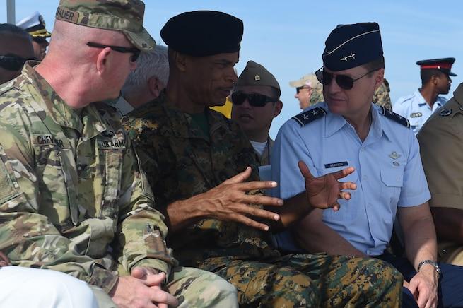 Military members talk.