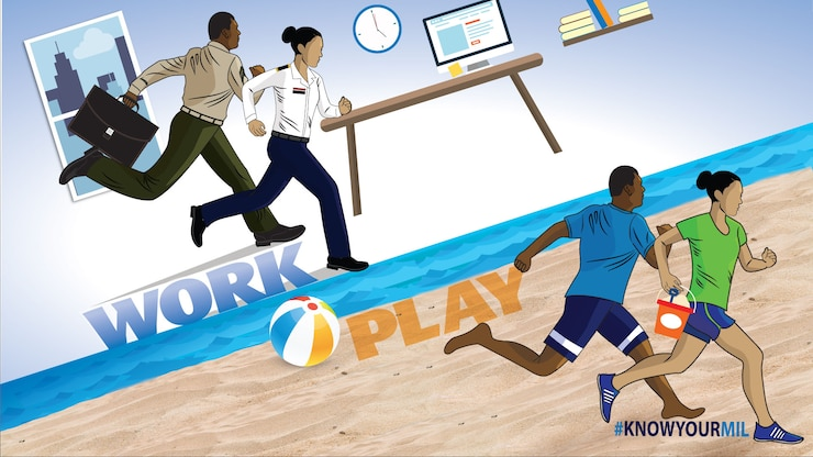 This Is Your Military graphic  showing a man and a woman running in uniform at the office and in civilian clothes on a beach.