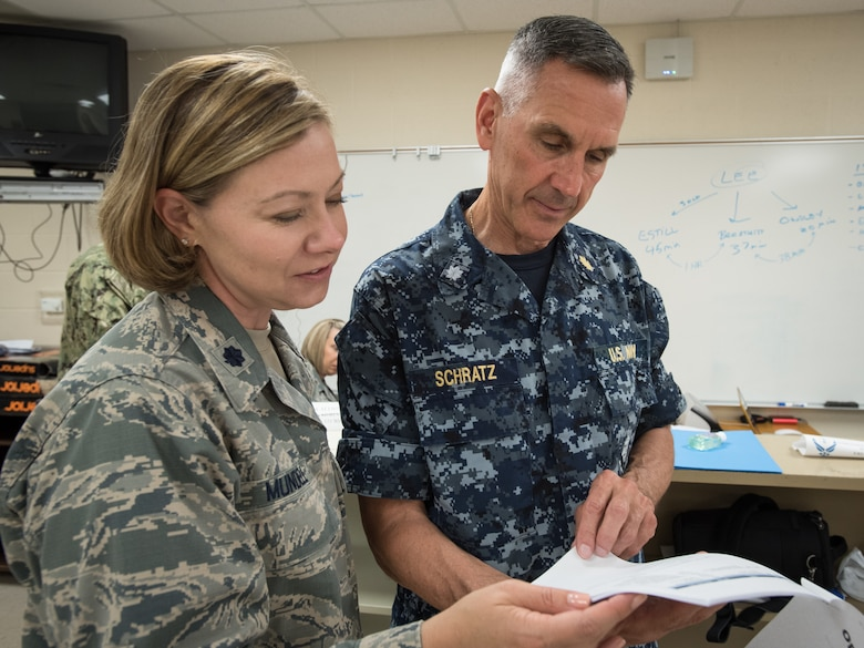 U.S. Air Force Lt. Col. Amy Mundell (left), a medical administrative officer with the Kentucky Air National Guard's 123rd Airlift Wing, and U.S. Navy Cmdr. Walter Schratz, a dentist from Expeditionary Medical Facility Bethesda in Maryland, discuss remobilization plans at a health-care clinic at Lee County High School in Beattyville, Ky., June 24, 2018. The clinic is one of four that comprised Operation Bobcat, a 10-day mission to provide military medical troops with crucial training in field operations and logistics while offering no-cost health care to the residents of Eastern Kentucky. The clinics, which operated from June 15-24, offered non-emergent medical care; sports physicals; dental cleanings, fillings and extractions; eye exams and no-cost prescription eye glasses. (U.S. Air National Guard photo by Lt. Col. Dale Greer)