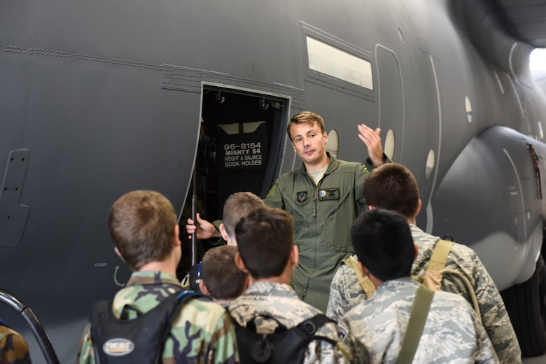 Civil Air Patrol cadets tour an EC-130SJ Super J aircraft during a visit to the 193rd Special Operations Wing.