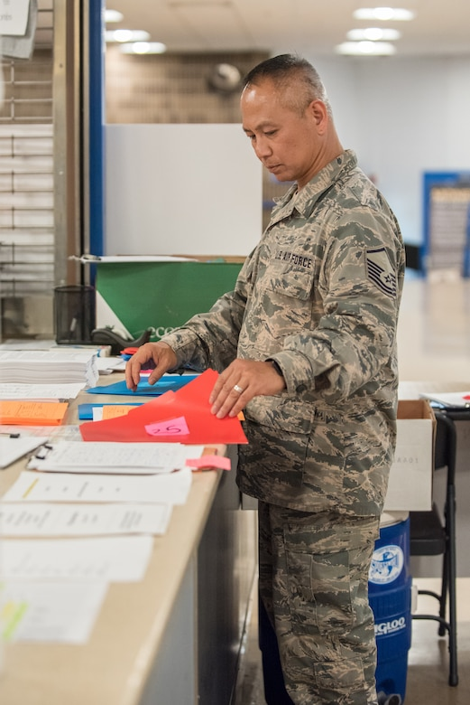 U.S. Air Force Master Sgt. Homer Lee, a health services manager with the California Air National Guard's 163rd Attack Wing, sorts patient forms at a health-care clinic being operated by the Air Guard and U.S. Navy Reserve at Breathitt County High School in Jackson, Ky., June 20, 2018. The Jackson clinic is one of four that comprised Operation Bobcat, a 10-day mission to provide military medical troops with crucial training in field operations and logistics while offering no-cost health care to the residents of Eastern Kentucky. The clinics, which operated from June 15-24, offered non-emergent medical care; sports physicals; dental cleanings, fillings and extractions; eye exams and no-cost prescription eye glasses. (U.S. Air National Guard photo by Lt. Col. Dale Greer)
