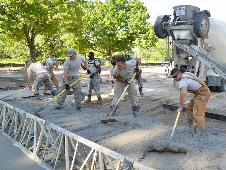375th Civil Engineer Squadron pours concrete for bare base exercise area.