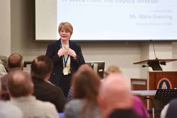 Marie Greening, Defense Contract Management Agency deputy director, speaks during a Special Programs Workshop at Fort Lee, Va., June 6, 2018. The multi-functional workshop covered a broad range of topics, some unique to Special Programs, a directorate within DCMA that covers programs with increased security protocols. (DCMA photo by Patrick Tremblay)