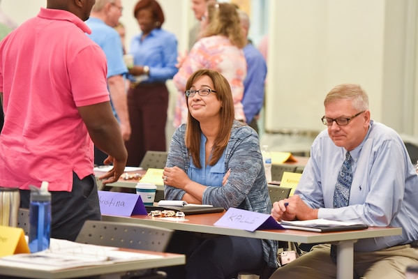 Defense Contract Management Agency personnel interact with colleagues from the Defense Contract Audit Agency during a DCMA Special Programs Workshop, June 6, 2018, at Fort Lee, Va., furthering collaboration between the agencies. (DCMA photo by Patrick Tremblay)