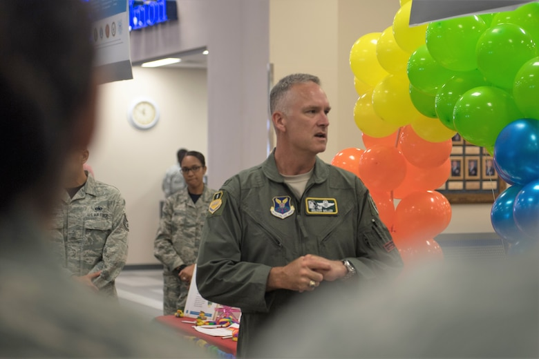 Col. Michael Miller, 2nd Bomb Wing commander, speaks during Barksdale's LGBT Pride Month event, June 22, 2018. (U.S. Air Force photo by Tech. Sgt. Daniel Martinez)