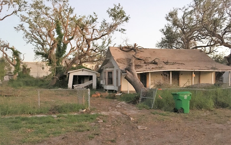 Most homes in Aransas Pass were seriously damaged, inside and out, by Hurricane Harvey in August 2017. Volunteers, like those from the 96th Flying Training Squadron, Laughlin Air Force Base, Texas, spent days, weeks, and months helping remove debris and restore homes like this one. (U.S. Air Force photo Maj. Jacob Hostetler, 96th FTS)