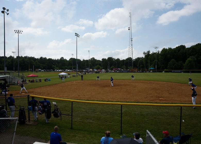 The National Capital Region Air Force softball team plays the final game of the preliminary round of the Armed Services Classic softball tournament at Jericho Park in Bowie, Md., June 23, 2018. After the preliminary games, the top two teams in the tournament go on to compete in a championship game as part of Major League Baseball's All-Star Week. (U.S. Air Force photo by Senior Airman Abby L. Richardson)