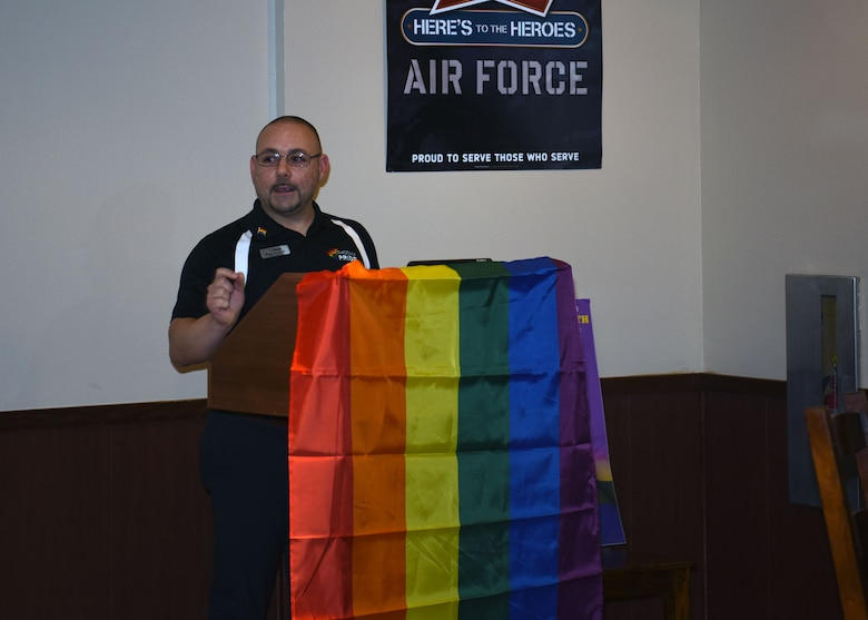 Ryan Starzky, a member of the Education and Outreach Committee with Phoenix Pride Community Foundation, shares his personal stories and experiences from within the LGBTQ community with the audience during the Pride Observation LGBTQ luncheon June 22, 2018.  Phoenix Pride's mission is to unite, educate and engage people to support and empower the LGBTQ community and its allies. (U.S Air Force Photo by Airman 1st Class Aspen Reid)