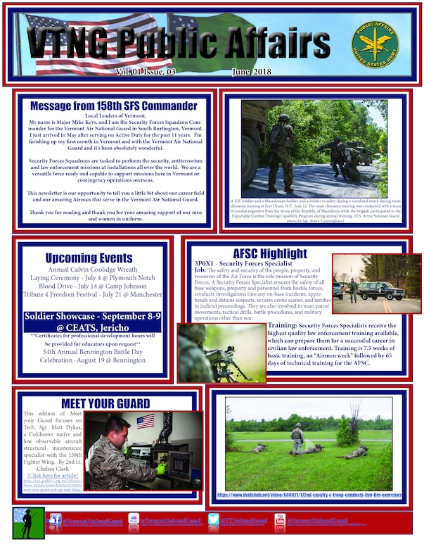 The June newsletter focuses on the 158th Security Forces Squadron, promotions, Meet your Guard, and a video of the month.