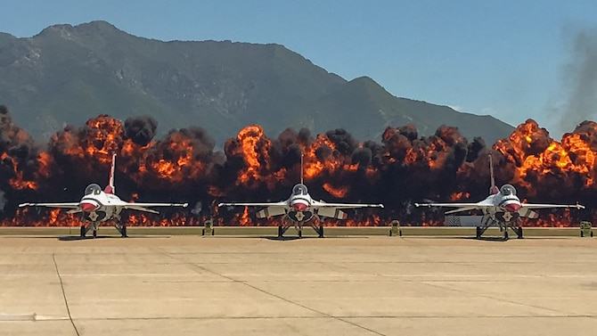 """A """"Wall of Fire"""" explodes at the end of the 388th Fighter Wing's F-35A attack demonstration during the Warriors Over the Wasatch Air and Space Show June 23, 2018, at Hill Air Force Base, Utah. (Courtesy photo by Master Sgt. Tiffany Hughes)"""