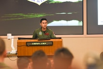 Image of LTA Nigel Wong, 428th Fighter Squadron pilot, briefs a mission, June 28, 2018 at Eielson Air Force Base, Alaska. The 428 FS participated in Red Flag to further enhance combat adversary training skills.
