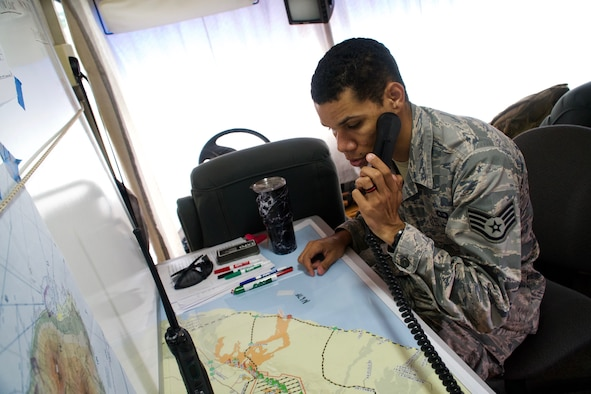 Staff Sgt. Skyler Ross, Air Traffic Control Specialist for the 297th Air Traffic Control Squadron, communicates over a VHF frequency with a civilian helicopter pilot as he checks into the temporary flight restriction airspace in Pahoa, June 8, 2018