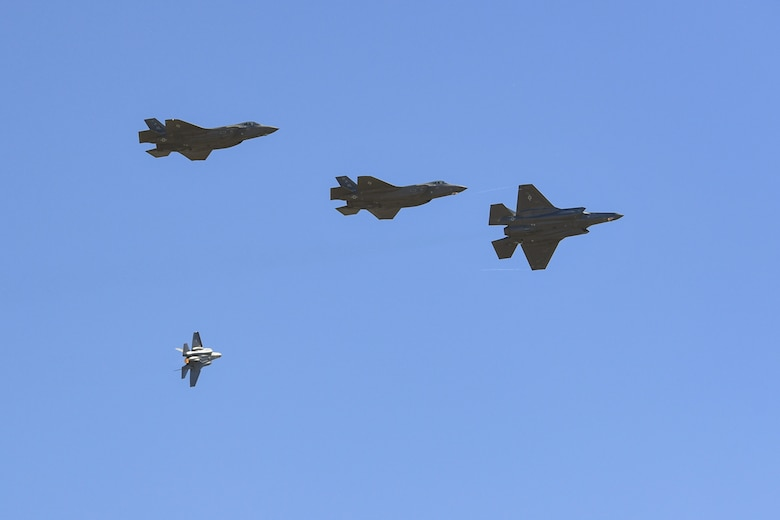 A four-ship of F-35A Lightning IIs from the 388th Fighter Wing fly above the Warriors Over the Wasatch Air and Space Show June 23, 2018, at Hill Air Force Base, Utah. The jets were part of an F-35 attack demonstration June 23-24. (U.S. Air Force photo by Cynthia Griggs)