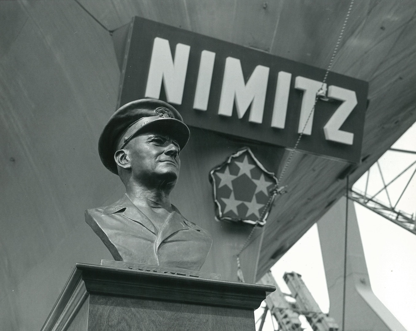 Bust of Fleet Adm. Chester W. Nimitz.