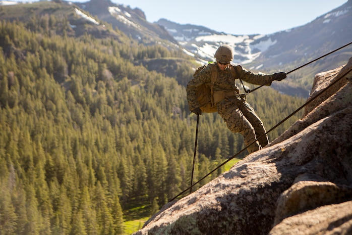 Lance Cpl. Garrett Hamilton, a rifleman with 2nd Battalion, 24th Marine Regiment, 23rd Marines, 4th Marine Division, rappels down a cliffside during Mountain Exercise 3-18, at Mountain Warfare Training Center, Bridgeport, Calif., June 22, 2018. After completing Integrated Training Exercise 4-17 last year, 2nd Bn., 24th Marines took part in MTX 3-18 to further develop small-unit leadership and build an understanding of the different climates and scenarios they could face in the future.