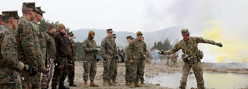 A U.S. Army observer coach/trainer (OC/T) instructs Georgian Army observer coach/trainers (OC/T's) from the NATO-Georgian Joint Training and Evaluation Center, Hungarian Soldiers, and U.S. Marines on throwing smoke grenades during a Mission Rehearsal Exercise (MRE) at the 7th Army Training Command's Hohenfels Training Area, Hohenfels, Germany, Feb. 7, 2018.