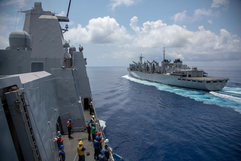 U.S. Sailors with the USS Arlington prepare to conduct a replenishment at sea from the USNS Supply during Amphibious Squadron MEU Integration training in the Atlantic Ocean, June 15, 2018. PHIBRON-MEU Integration is a two-week training evolution that allows Sailors and U.S. Marines to train as a cohesive unit in preparation for their upcoming deployment.