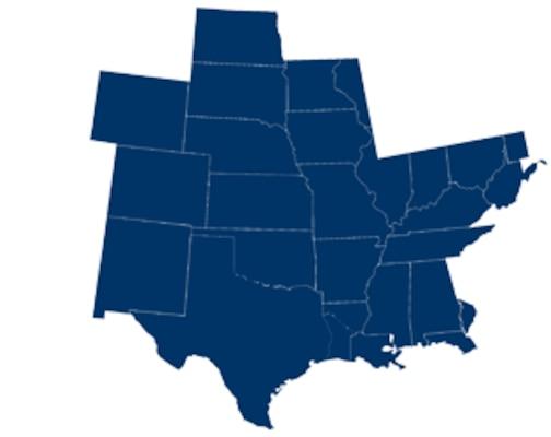 District 8: Alabama, Arkansas, Colorado, Florida, Indiana, Illinois, Iowa, Kansas, Kentucky, Louisiana, Minnesota, Mississippi, Missouri, Nebraska, New Mexico, North Dakota, Pennsylvania, South Dakota, Tennessee, Texas, West Virginia, Wisconsin, Wyoming,
