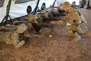 Soldiers train on the firing line.
