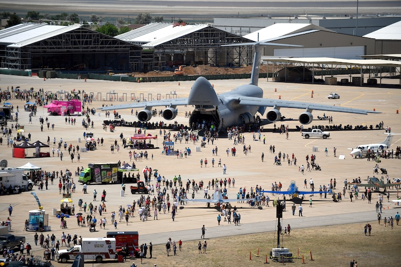 "A C-5 Galaxy on display during the Warriors Over the Wasatch Air and Space Show June 24, 2018, at Hill Air Force Base, Utah. Air show visitors were able to walk ""nose to tail"" touring the  inside of the aircraft. (U.S. Air Force photo by Todd Cromar)"