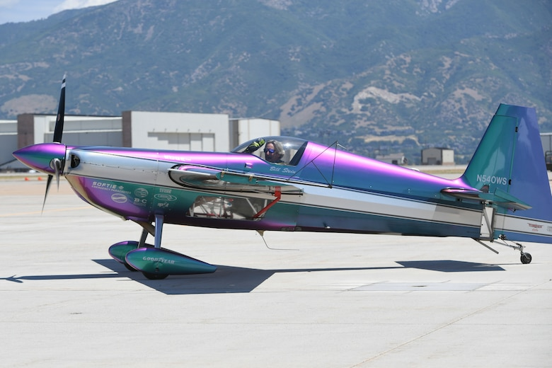 Bill Stein taxis his Zivko Edge 540 during the Warriors Over the Wasatch Air and Space Show, June 23, 2018, at Hill Air Force Base, Utah. Stein has performed at air show all across the United States. (U.S. Air Force photo by Cynthia Griggs)