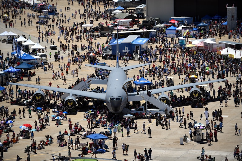 A Utah Air National Guard KC-135 sits on display during the Warriors Over the Wasatch Air and Space Show June 24, 2018, at Hill Air Force Base, Utah. The aircraft was one of several military and civilian static displays showcased at the event. (U.S. Air Force photo by Todd Cromar)