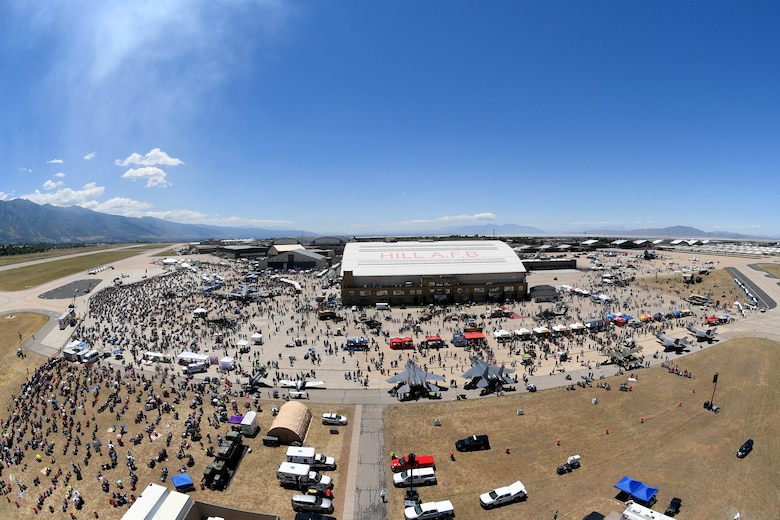 Hundreds of thousands of visitors attend the Warriors Over the Wasatch Air and Space Show June 24, 2018, at Hill Air Force Base, Utah. The two-day show is widely supported by the local community, is the biggest single events in the state, and one of the largest military shows in the country. (U.S. Air Force photo by Todd Cromar)