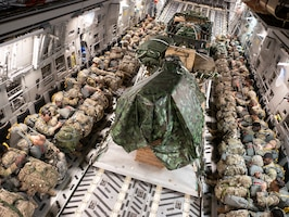 Members of the 4-319 Airborne Field Artillery Regiment, 173rd Infantry Brigade Combat Team and pallets are transported on a C-17 Globemaster III on a flight toward Miroslawiec Air Base, Poland during exercise Swift Response 18 on June 8, 2018