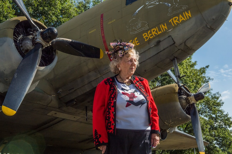 Traute Grier attends the ceremony for the 70th anniversary of the Berlin Airlift, June 26, 2018, in Frankfurt, Germany. Grier was 14 years old during the beginning of the operation. The Berlin Airlift memorial ceremony honored the 70th Anniversary of the beginning of the Berlin Airlift. The event also honored the 101 lives lost from the participating countries. (U.S. Air Force photo by Senior Airman Nick Emerick)