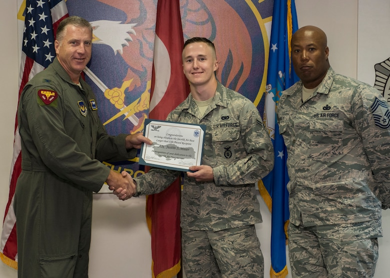 INCIRLIK AIR BASE, Turkey – Congratulations to Airman 1st Class Justin Miller, 39th Security Forces Squadron contingency member, for winning the deployed Larger Than Life award at Incirlik Air Base, Turkey, June 27, 2018.