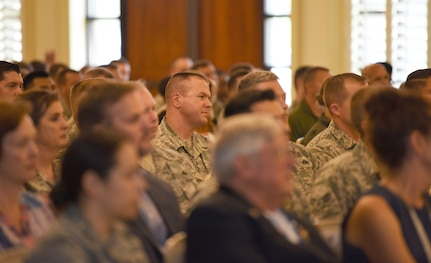 """Members of Joint Base Charleston attend the Air Force Association's first professional development event on Joint Base Charleston, S.C., June 26, 2018. The event, called """"Airmen for Life"""", included a panel of three influential and experience speakers: retired Gen. Larry Spencer, Air Force Association president and former vice chief of staff of the Air Force; retired Chief Master Sgt. of the Air Force James Roy and retired Chief Master Sgt. Jan Adams. (U.S. Air Force photo by Senior Airman Tenley Long)"""