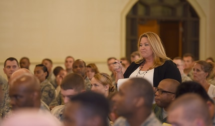 """Jordan Blake, 437th Operation Support Squadron security manager, asks a question at the Air Force Association's first professional development event on Joint Base Charleston, S.C., June 26, 2018. The event, called """"Airmen for Life"""", included a panel of three influential and experience speakers: retired Gen. Larry Spencer, Air Force Association president and former vice chief of staff of the Air Force; retired Chief Master Sgt. of the Air Force James Roy and retired Chief Master Sgt. Jan Adams. (U.S. Air Force photo by Senior Airman Tenley Long)"""