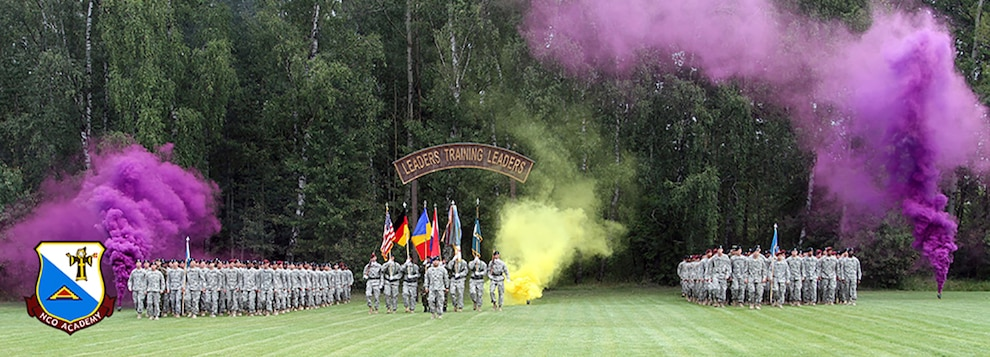 After completing the 22-day Warrior Leader Course, seven Romanian, four Dutch and 300 U.S. Soldiers graduate from the 7th Army Noncommissioned Officer Academy, Aug. 7 at the 7th Army Training Command school. This school is the only NCO academy in Europe and the largest NCO academy in the U.S. Army. (U.S. Army photo by Sgt. Christina M. Dion/Released)