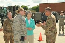 The Honorable Heather Wilson visits airmen of the 114th Fighter Wing.