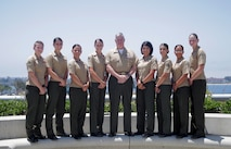 Gen. Glenn M. Walters, center, assistant commandant of the Marine Corps, poses for a photo with I Marine Expeditionary Force Marines during the 31st Annual Joint Women's Leadership Symposium at the San Diego Convention Center, June 22, 2018. The symposium brought together women from all of the U.S. services and 20 other countries to discuss topics ranging from women's health and wellness to professional development and leadership.
