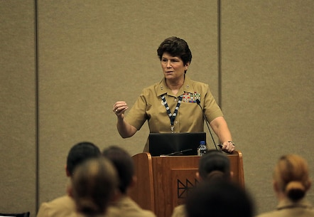 Maj. Gen. Lori Reynolds, commanding general of U.S. Marine Corps Forces Cyberspace Command, gives the opening remarks for the Marine Corps during the service specific day at the 31st Annual Joint Women's Leadership Symposium at the San Diego Convention Center, June 22, 2018. The symposium brought together women from all of the U.S. services and 20 other countries to discuss topics ranging from women's health and wellness to professional development and leadership.
