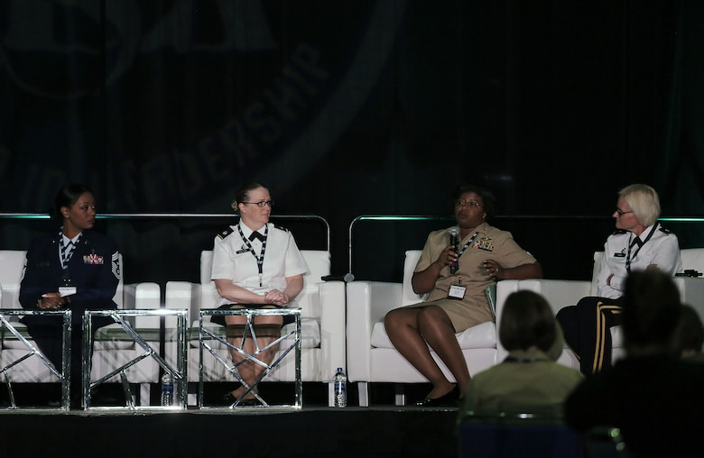 U.S. Navy Commander Elizabeth Reeves, second from right, Preventive Medicine Officer, I Marine Expeditionary Force, answers questions about women's health and wellness during the 31st Annual Joint Women's Leadership Symposium at the San Diego Convention Center, June 21, 2018. The symposium brought together women from all of the U.S. services and 20 other countries to discuss topics ranging from women's health and wellness to professional development and leadership.