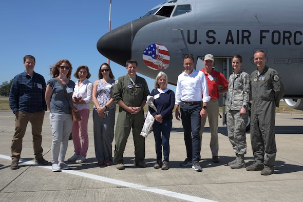 U.S. Air Force commanders from RAF Mildenhall and their honorary commanders pose for a photo in front of a U.S. Air Force KC-135 Stratotanker during Honorary Commanders Day at RAF Mildenhall, England, June 26, 2018. The Honorary Commanders' program brings together dignitaries and leaders from the local community in an effort to foster community relations for the base, by assisting commanders with networking in the surrounding areas. (U.S. Air Force photo by Airman 1st Class Benjamin Cooper)