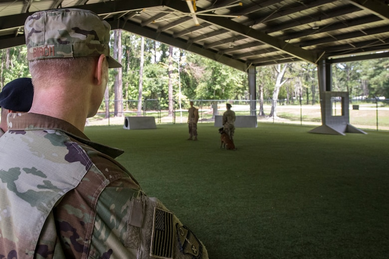 Col. Paul Birch, 93d Air Ground Operations Wing (AGOW) commander, watches a Military Working Dog demonstration, June 25, 2018, at Moody Air Force Base, Ga. Birch toured the 820th Base Defense Group to gain a better understanding of their overall mission, duties and comprehensive capabilities. Prior to taking command of the 93d AGOW, Birch was the commander of the 380th Expeditionary Operations Group at Al Dhafra Air Base, United Arab Emirates. (U.S. Air Force photo by Airman 1st Class Eugene Oliver)