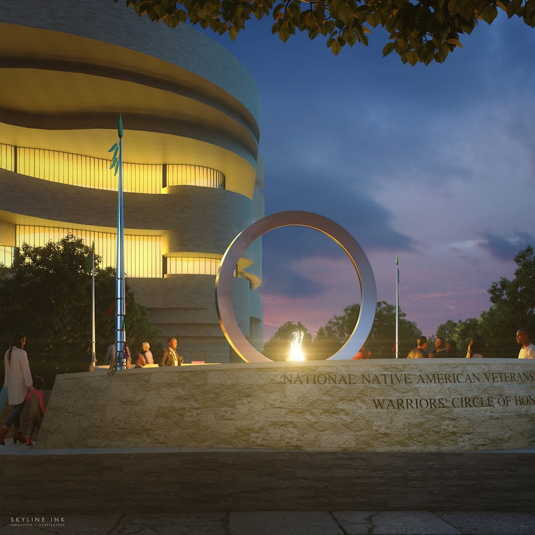 Artist rendering of The National Native American Veterans Memorial, Warriors' Circle of Honor, Harvey Pratt