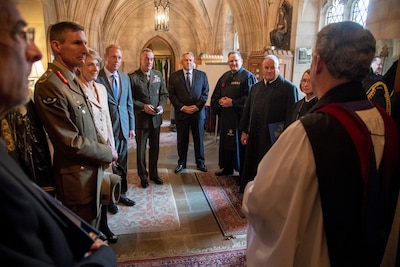 Australian and U.S. officials meet with Washington Cathedral celebrants before the Centenary of Mateship Commemorative Service at the Washington National Cathedral.