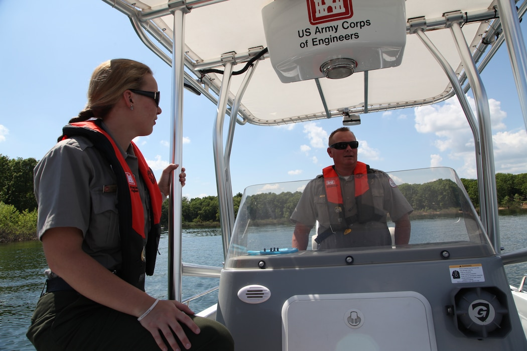 U.S. Army Corps of Engineers park rangers Gina Pate and Stanton Rains patrol the waters at Stockton Lake.