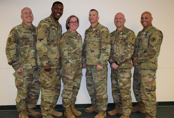 Colorado Army National Guard Mobile Training Team members after being recognized March 16, 2018, at Joint Force Headquarters-Colorado, Centennial, Colorado, for their accomplishments under the U.S. Defense Threat Reduction Agency's U.S.-Jordan Countering Weapons of Mass Destruction-Building Partner Capacity Program.