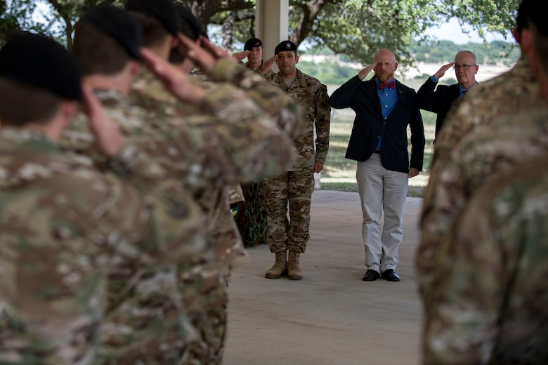 Past and present 11th Air Support Operations Squadron (ASOS) commanders salute a formation of 11th ASOS Airmen during a squadron inactivation ceremony, June 21, 2018, at Fort Hood, Texas. As a part of the 93d Air Ground Operations Wing from Moody Air Force Base, Ga., the 11th ASOS 'Steel Eagles' mission will remain unchanged as they continue to support Ft. Hood and absorb into the 9th ASOS. The enhanced 9th ASOS will continue to provide tactical air support to align with any U.S. Army unit that needs air support for their scheme of maneuver. (U.S. Air Force photo by Senior Airman Daniel Snider)