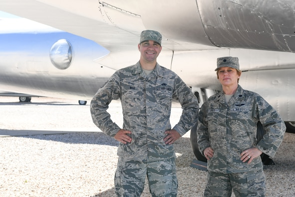 Staff Sgt. Nicholas Wise and Lt. Col Seana Jones are cousins who discovered each other for the first time and also coincidentally happened to be stationed on Hill Air Force Base, Utah. Jones is with 84th Radar Evaluation Squadron and Wise is with the 372 Training Squadron. (U.S. Air Force photo by Cynthia Griggs)